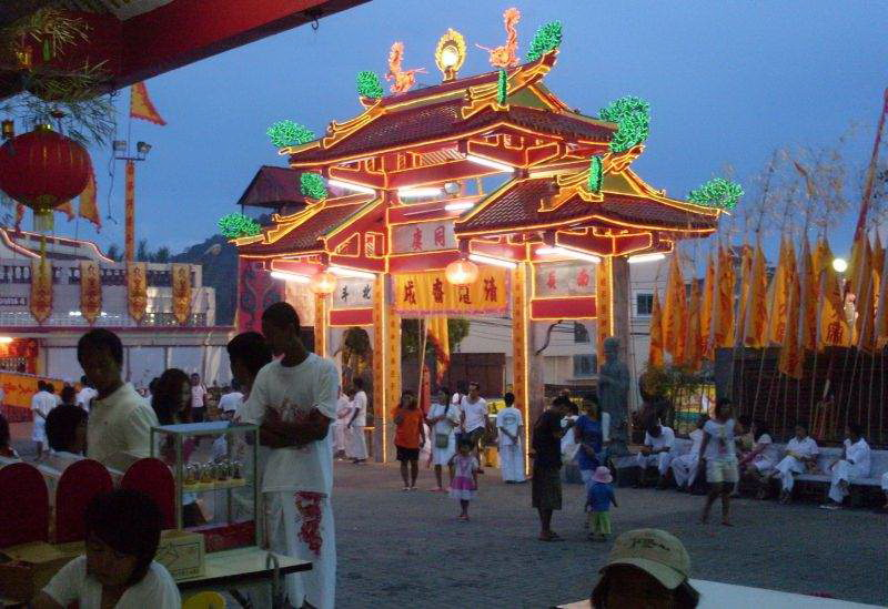 Vegetarin festival celebrated at old Chinese Temple, Phuket Town