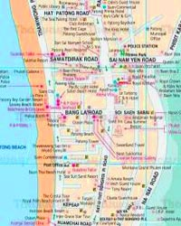 Patong Beach Map showing popular tourist hangouts