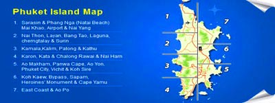 Great Detailed Phuket Map thats area partitioned.