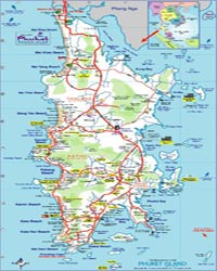 Phuket Island map showing tour routes