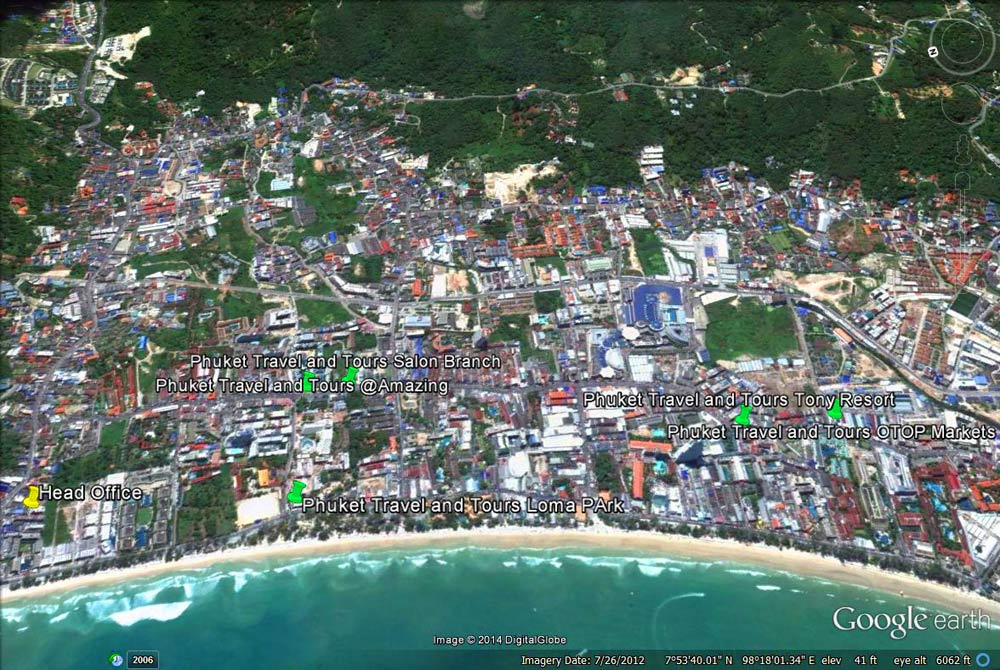 Patong Tour Counter Locations with Google Maps