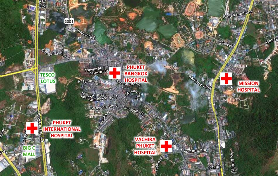 Phuket Hospitals Location Map
